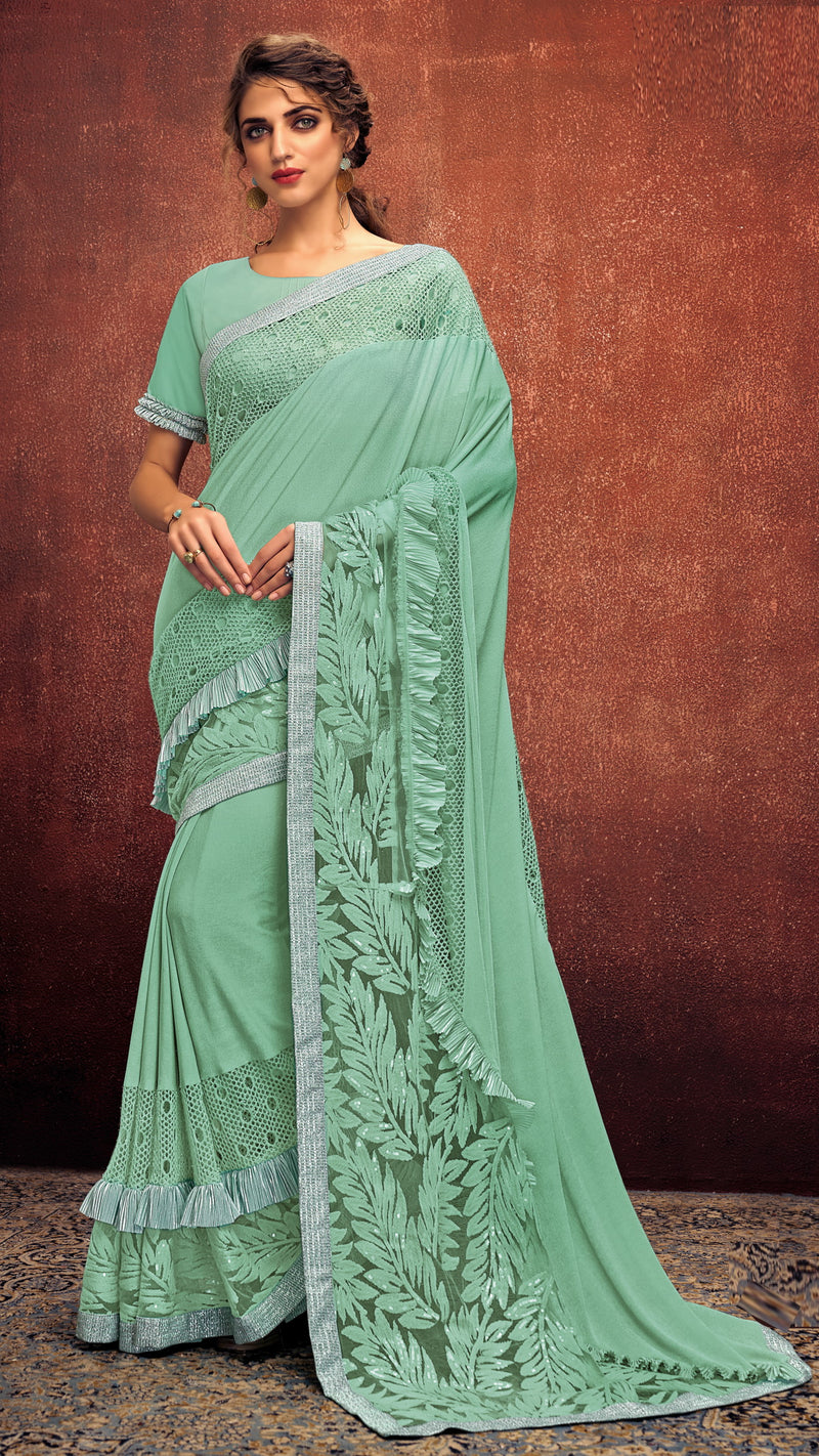 Sea Green Color Lycra Elegant Party Wear Sarees NYF-5854