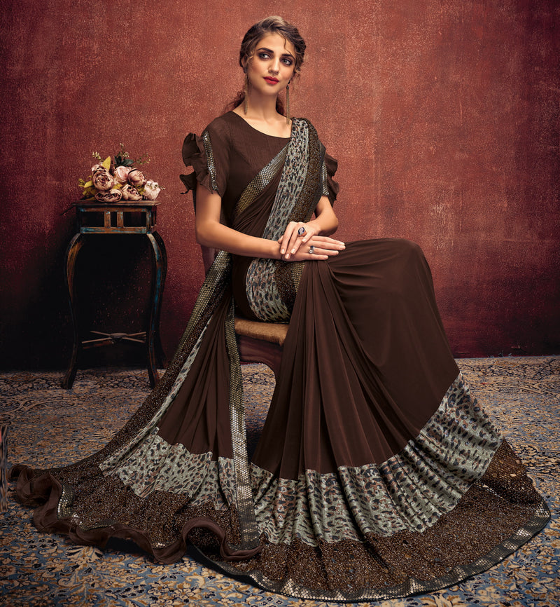 Brown Color Lycra Elegant Party Wear Sarees NYF-5855