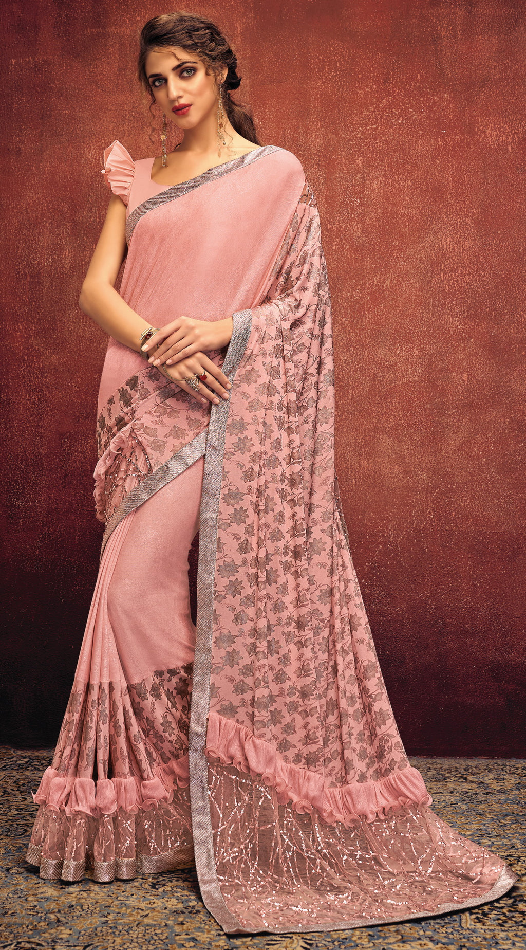 Pink Color Lycra Elegant Party Wear Sarees NYF-5857