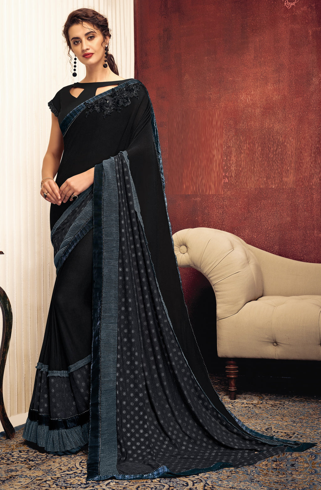 Black Color Lycra Elegant Party Wear Sarees NYF-5858