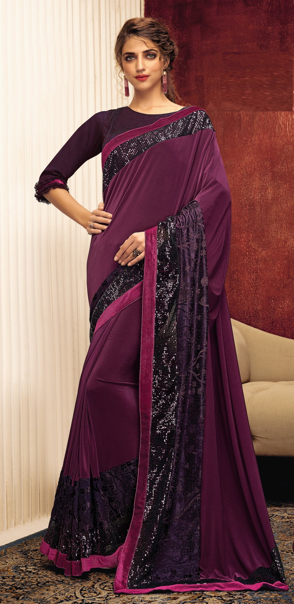 Purple Color Lycra Elegant Party Wear Sarees NYF-5859
