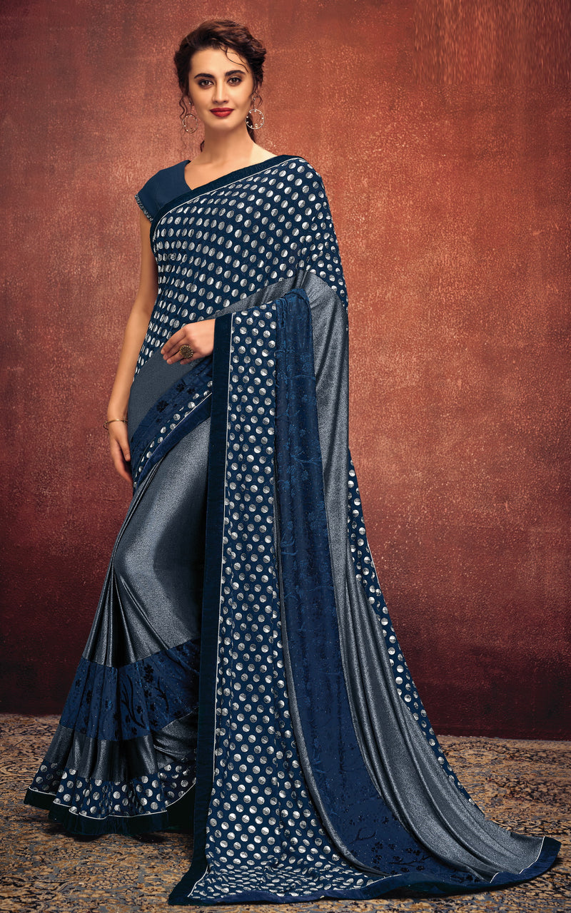 Blue & Grey Color Lycra Elegant Party Wear Sarees NYF-5860