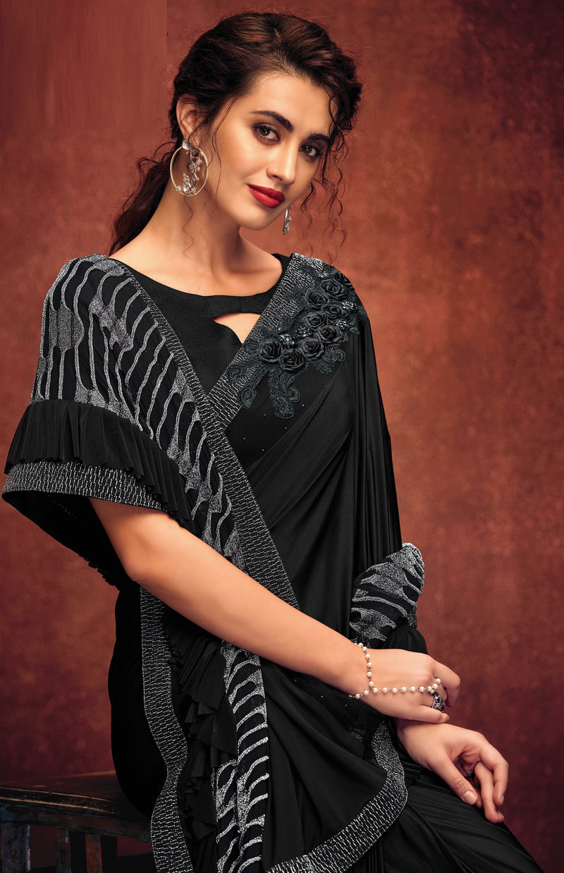 Black Color Lycra Elegant Party Wear Sarees NYF-5861