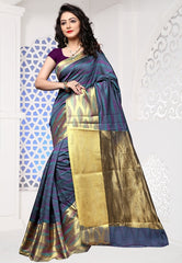 Blue & Purple Color Cotton Silk Casual Party Sarees : Sangina Collection  YF-52339