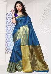 Blue Color Cotton Silk Casual Party Sarees : Sangina Collection  YF-52340