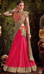 Rani Pink Color Smart Net Designer Function Wear Lehenga Sarees : Jena Collection  YF-58251