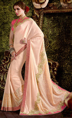 Baby Pink Color Wrinkle Chiffon Designer Function Wear Sarees : Jena Collection  YF-58260