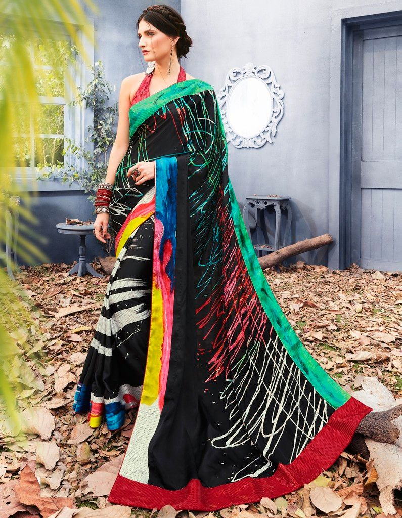 Black Color Satin Silk Designer Festive Sarees : Preyashi Collection  NYF-1340 - YellowFashion.in