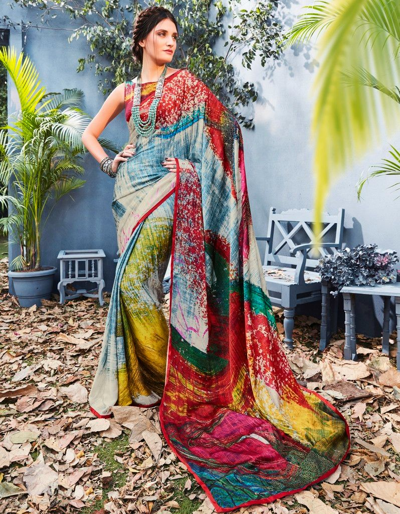 Multi Color Satin Silk Designer Festive Sarees : Preyashi Collection  NYF-1341 - YellowFashion.in