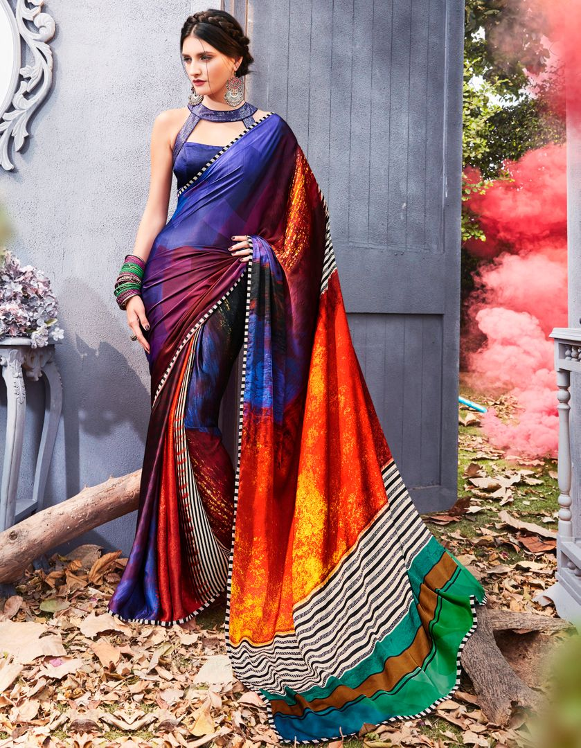 Blue Color Crepe Silk Party & Function Wear Sarees : Ranjita Collection  NYF-2462 - YellowFashion.in