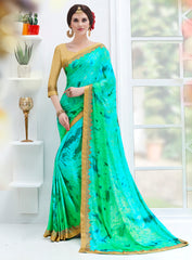 Shades Of Green Color Silk georgette Designer Party Wear Sarees : Suvidhi Collection  YF-58264