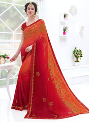 Red Color Georgette Designer Party Wear Sarees : Suvidhi Collection  YF-58266