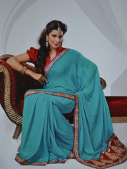 Green  Colour  Chiffon  Material Sarees : Shubh Collection -  YF-9448