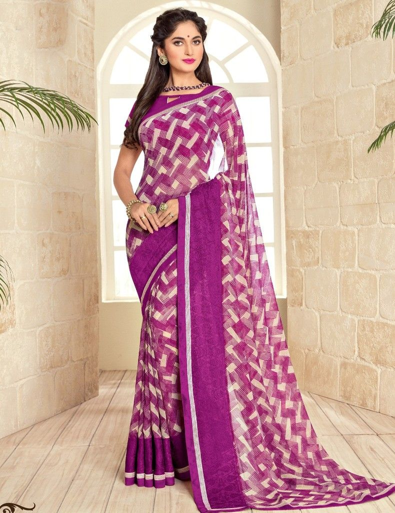 Purple Color Georgette Designer Festive Sarees : Preyashi Collection  NYF-1344 - YellowFashion.in