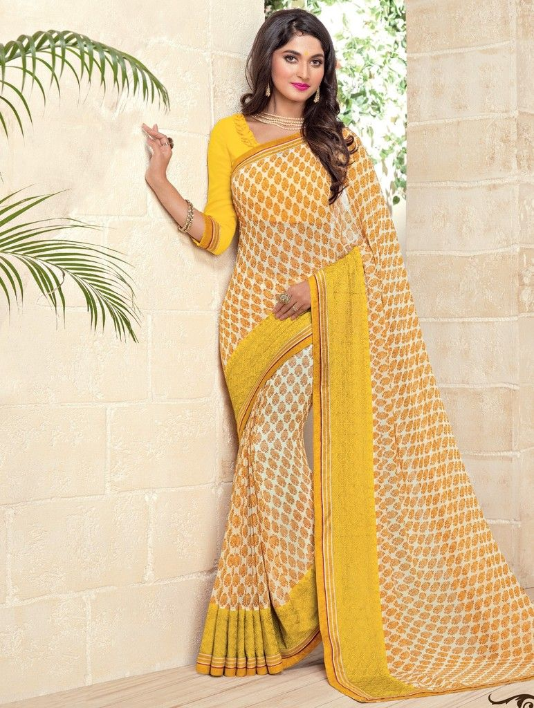 Yellow Color Georgette Designer Festive Sarees : Preyashi Collection  NYF-1345 - YellowFashion.in