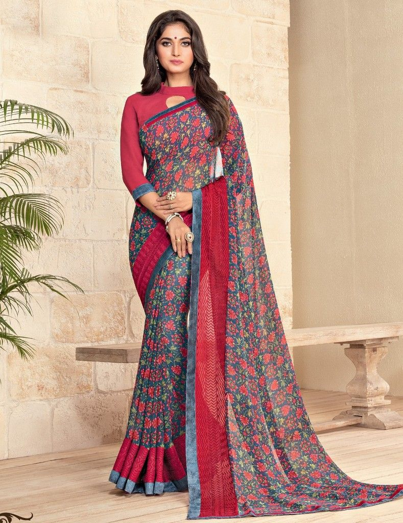 Blue Color Georgette Designer Festive Sarees : Preyashi Collection  NYF-1346 - YellowFashion.in