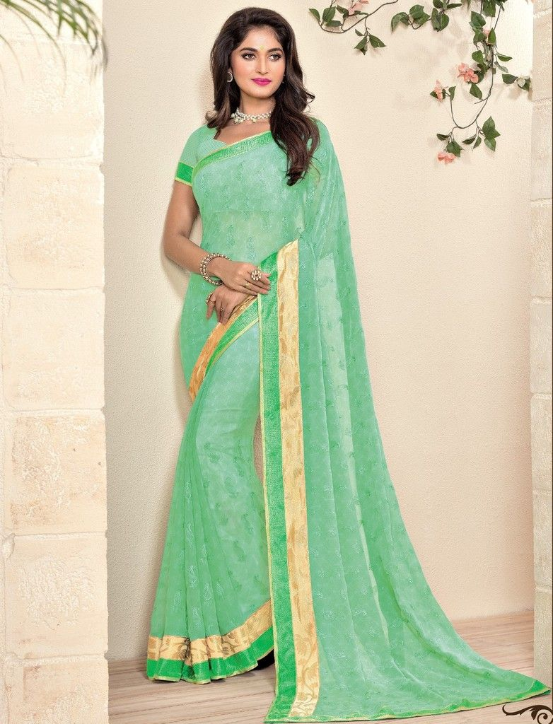 Sea Green Color Georgette Designer Festive Sarees : Preyashi Collection  NYF-1347 - YellowFashion.in
