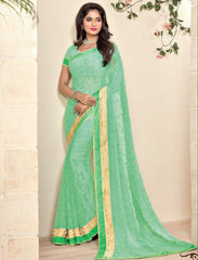 Sea Green Color Georgette Designer Festive Sarees : Preyashi Collection  NYF-1347