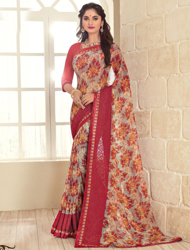Grey & Maroon Color Georgette Designer Festive Sarees : Preyashi Collection  NYF-1348 - YellowFashion.in