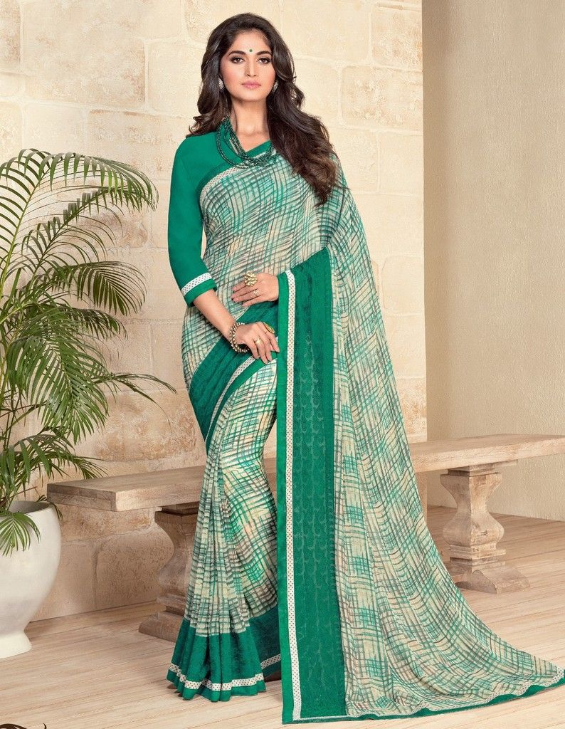 Green & Off White Color Georgette Designer Festive Sarees : Preyashi Collection  NYF-1349 - YellowFashion.in