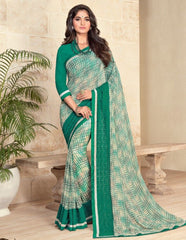 Green & Off White Color Georgette Designer Festive Sarees : Preyashi Collection  NYF-1349