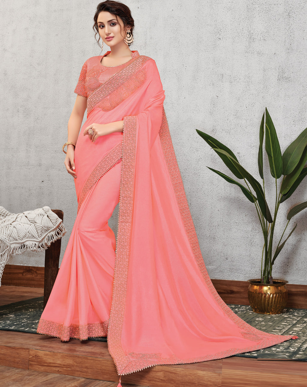 Pink Color Wrinkle Crepe Lovely Occasion Wear Sarees NYF-6114