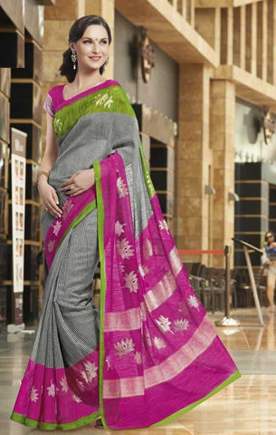 Grey and Pink  Color Bhagalpuri Silk Sarees for Ocassions: Rhea Collection YF-20692