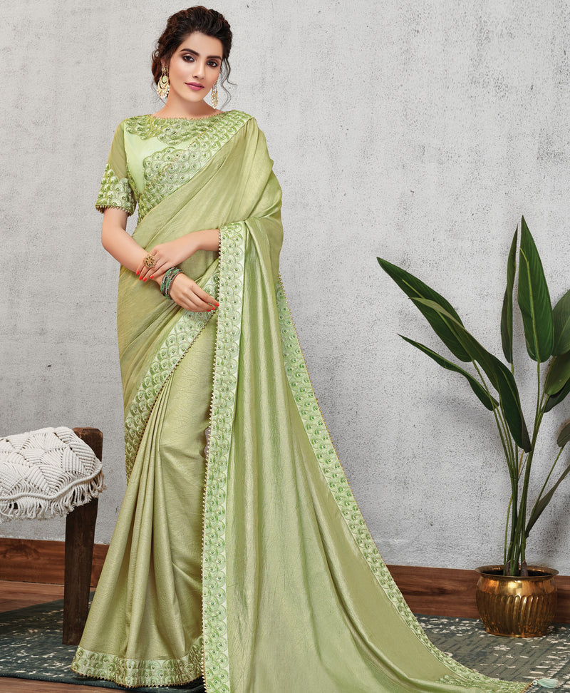 Pastel Green Color Wrinkle Crepe Lovely Occasion Wear Sarees NYF-6115