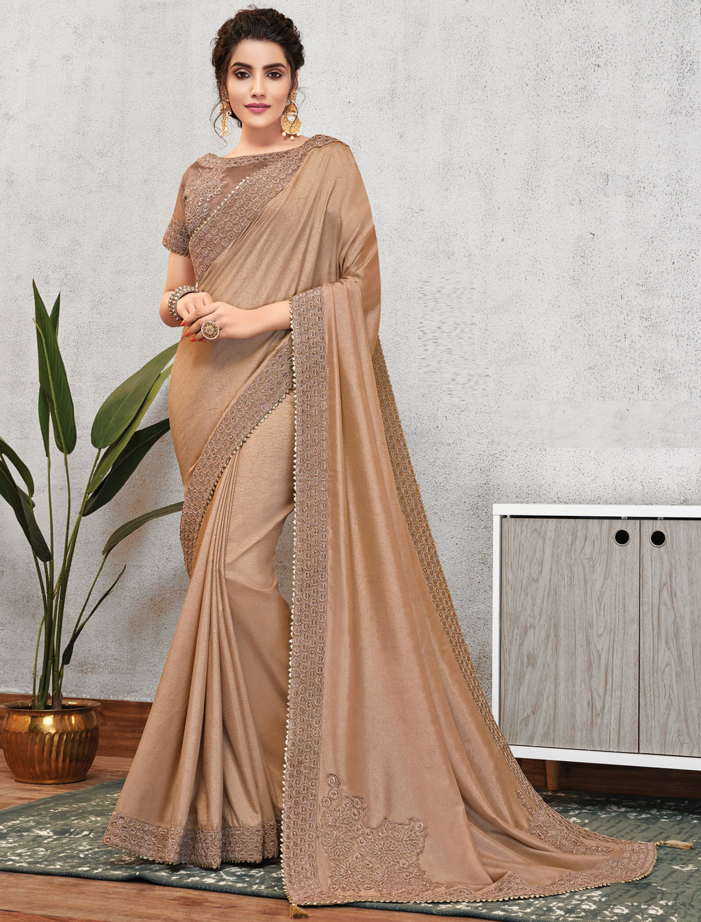 Beige Color Wrinkle Crepe Lovely Occasion Wear Sarees NYF-6116