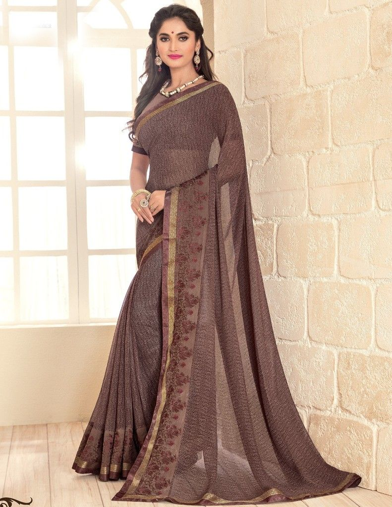 Brown Color Georgette Designer Festive Sarees : Preyashi Collection  NYF-1352 - YellowFashion.in