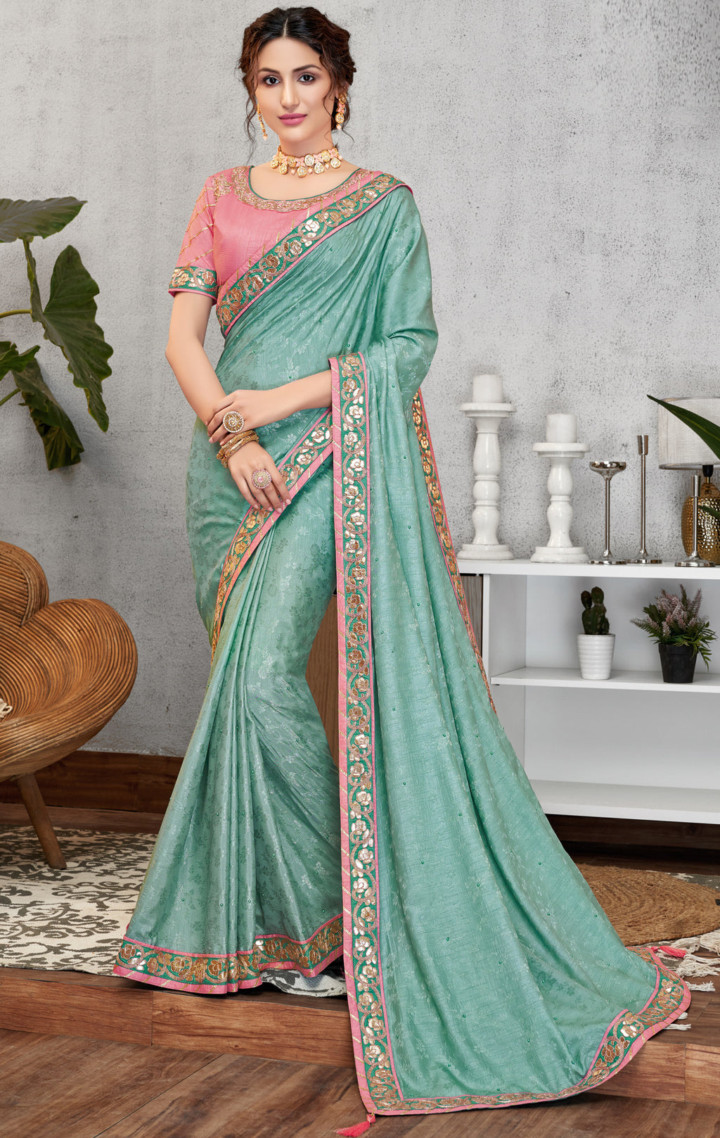 Aqua Blue Color Jacquard Crepe Lovely Occasion Wear Sarees NYF-6117