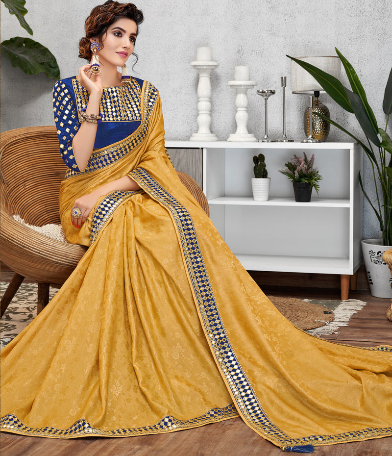 Yellow Color Jacquard Crepe Lovely Occasion Wear Sarees NYF-6118