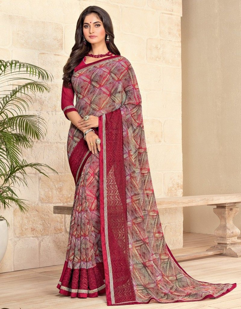 Multi Color Georgette Designer Festive Sarees : Preyashi Collection  NYF-1353 - YellowFashion.in