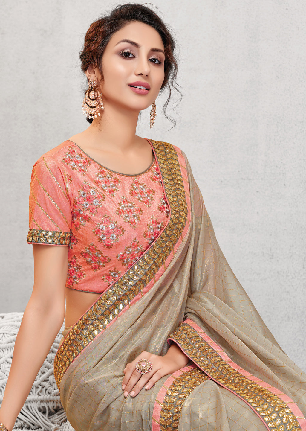 Grey Color Crepe Silk Lovely Occasion Wear Sarees NYF-6119