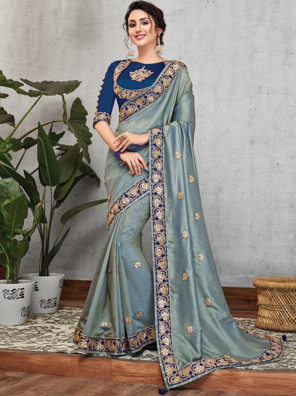 Grey Color Wrinkle Crepe Lovely Occasion Wear Sarees NYF-6120