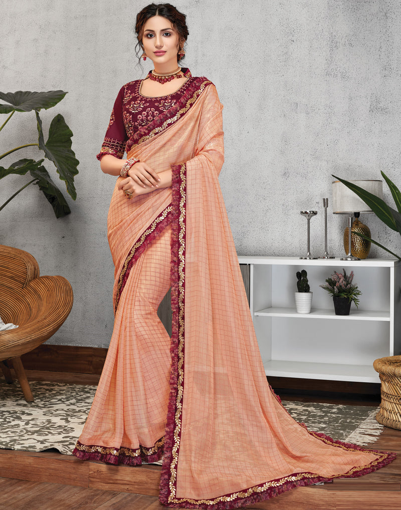 Peach Color Crepe Silk Lovely Occasion Wear Sarees NYF-6121