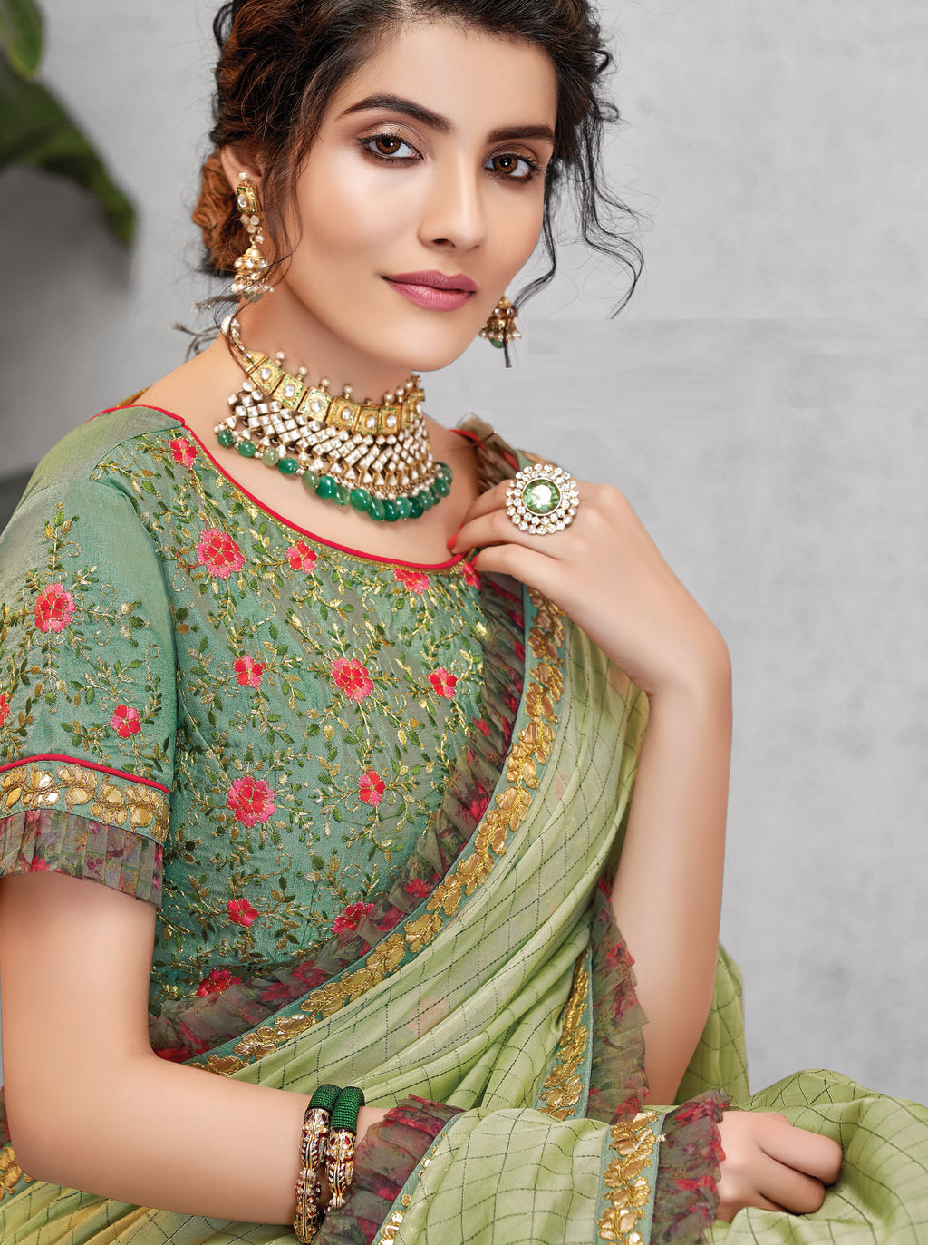 Pastel Green Color Crepe Silk Lovely Occasion Wear Sarees NYF-6122
