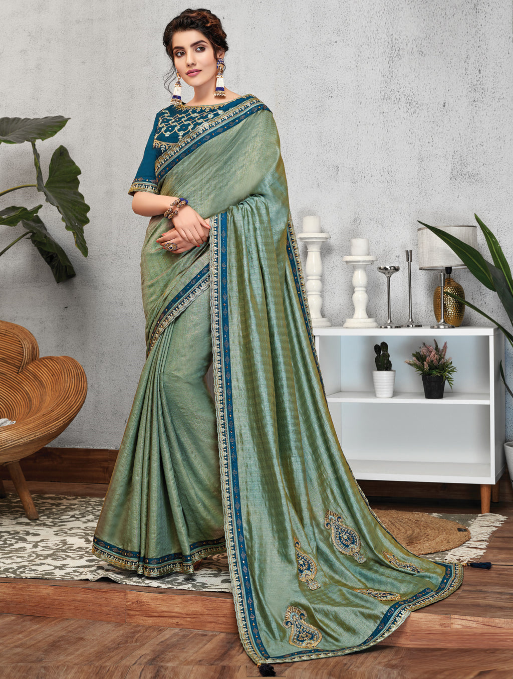 Rama Green Color Crepe Silk Lovely Occasion Wear Sarees NYF-6123