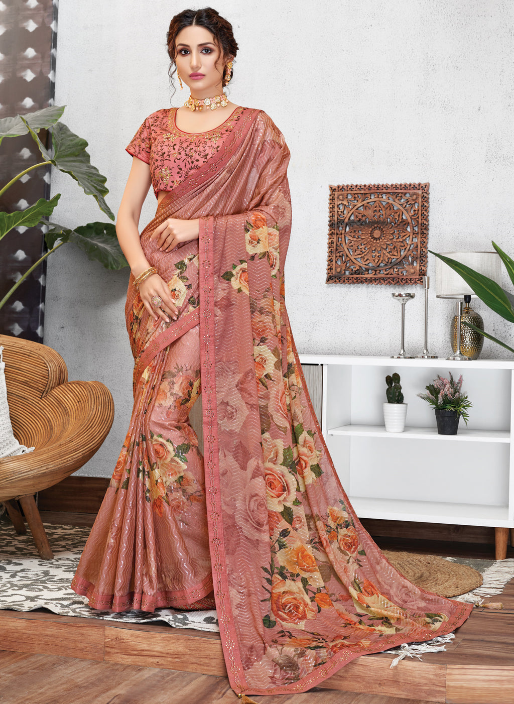 Peach Color Georgette Lovely Occasion Wear Sarees NYF-6124