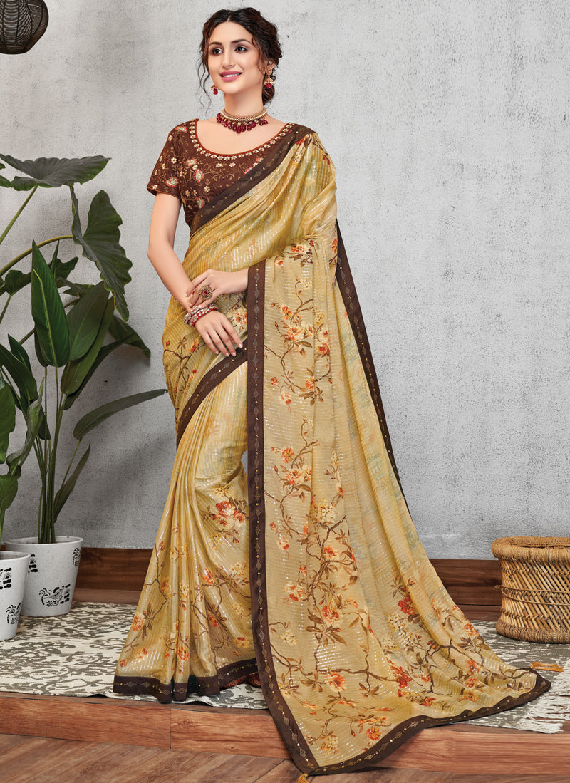 Yellow Color Georgette Lovely Occasion Wear Sarees NYF-6125