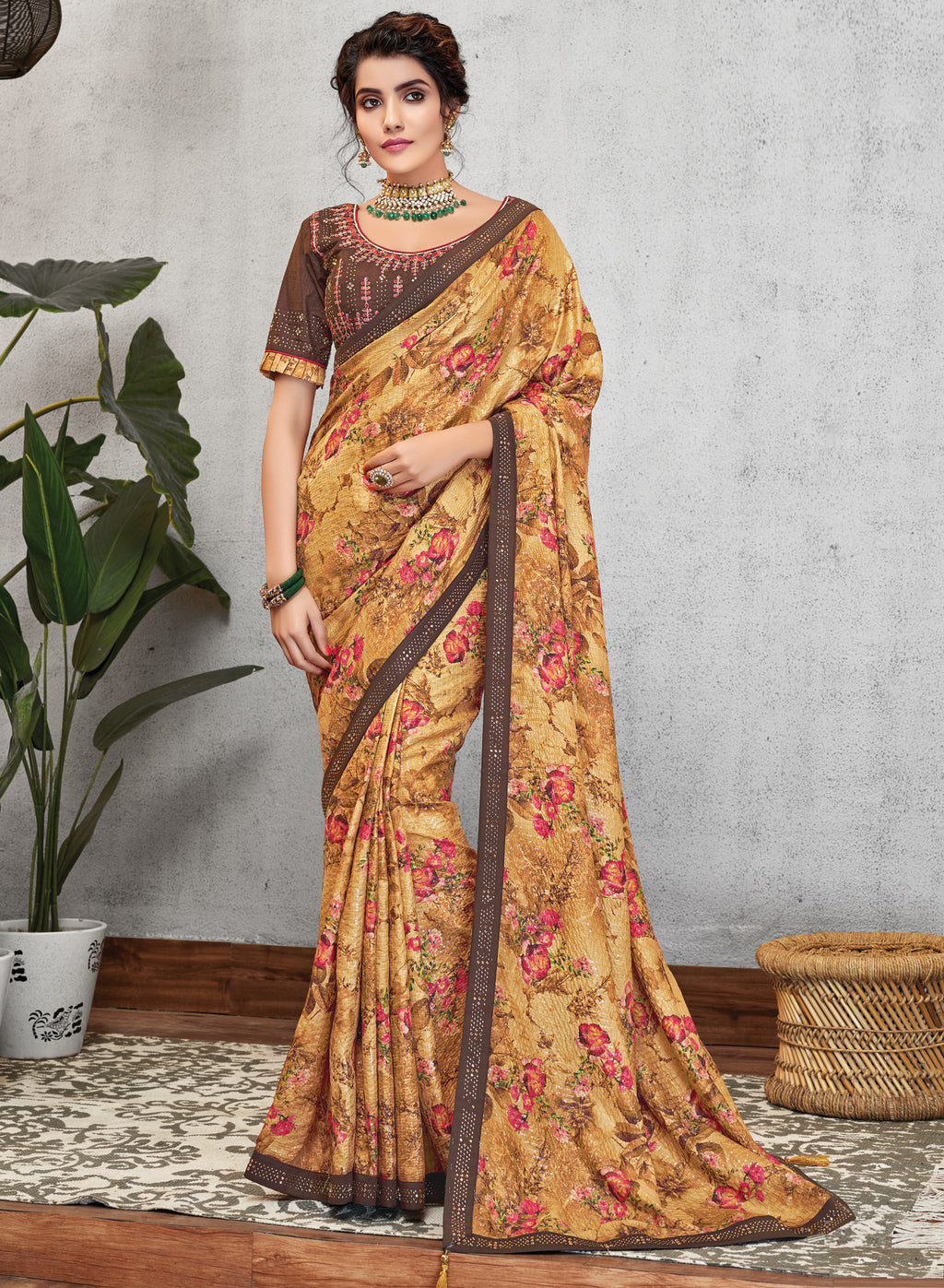 Yellow & Brown Color Georgette Lovely Occasion Wear Sarees NYF-6126