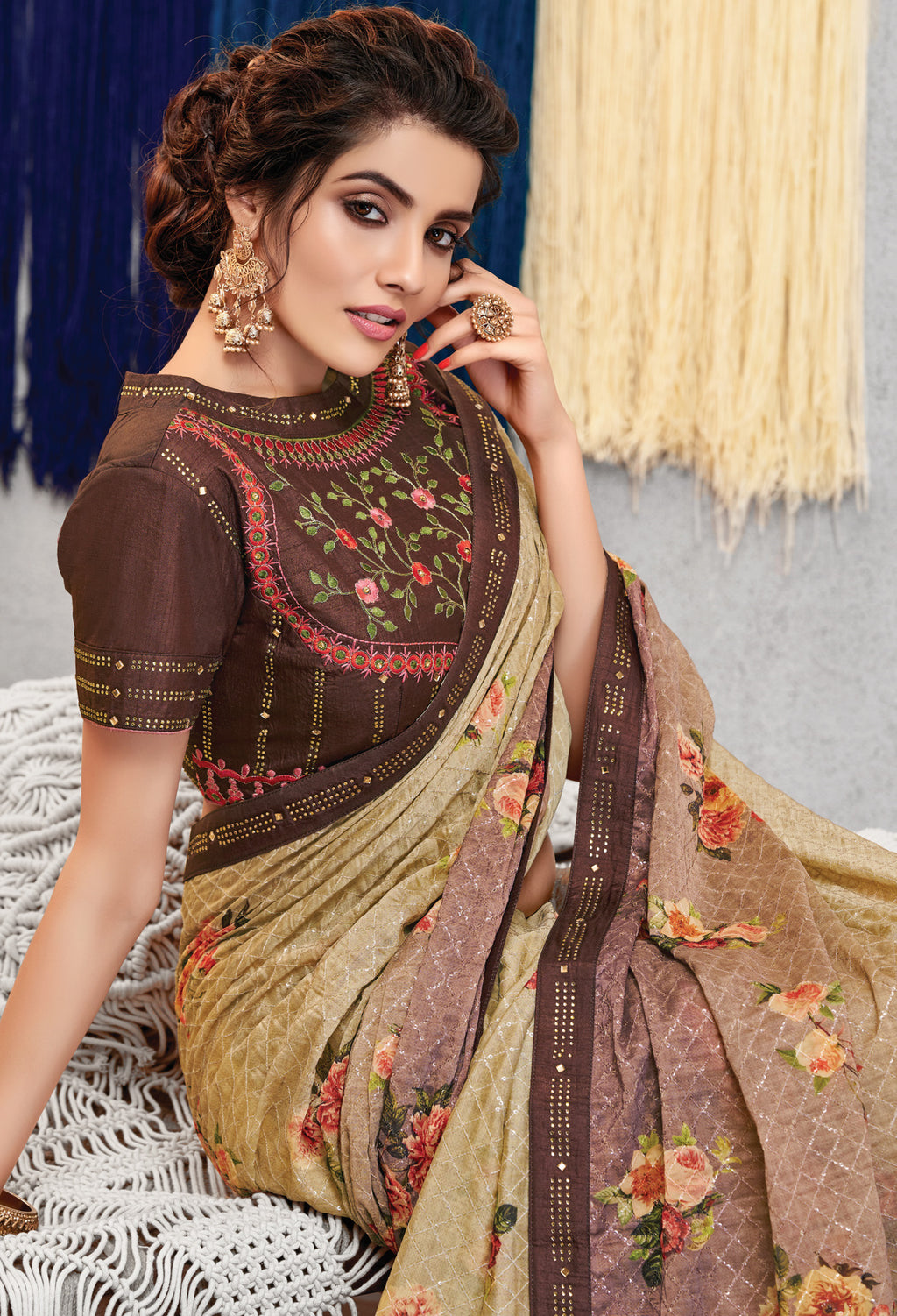 Light Coffee Color Georgette Lovely Occasion Wear Sarees NYF-6127