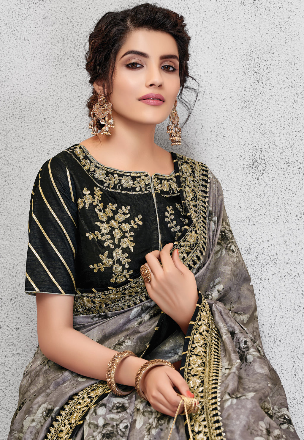 Grey Color Silk Lovely Occasion Wear Sarees NYF-6128