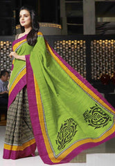 Parrot Green  Color Bhagalpuri Silk Sarees for Ocassions: Rhea Collection YF-20706
