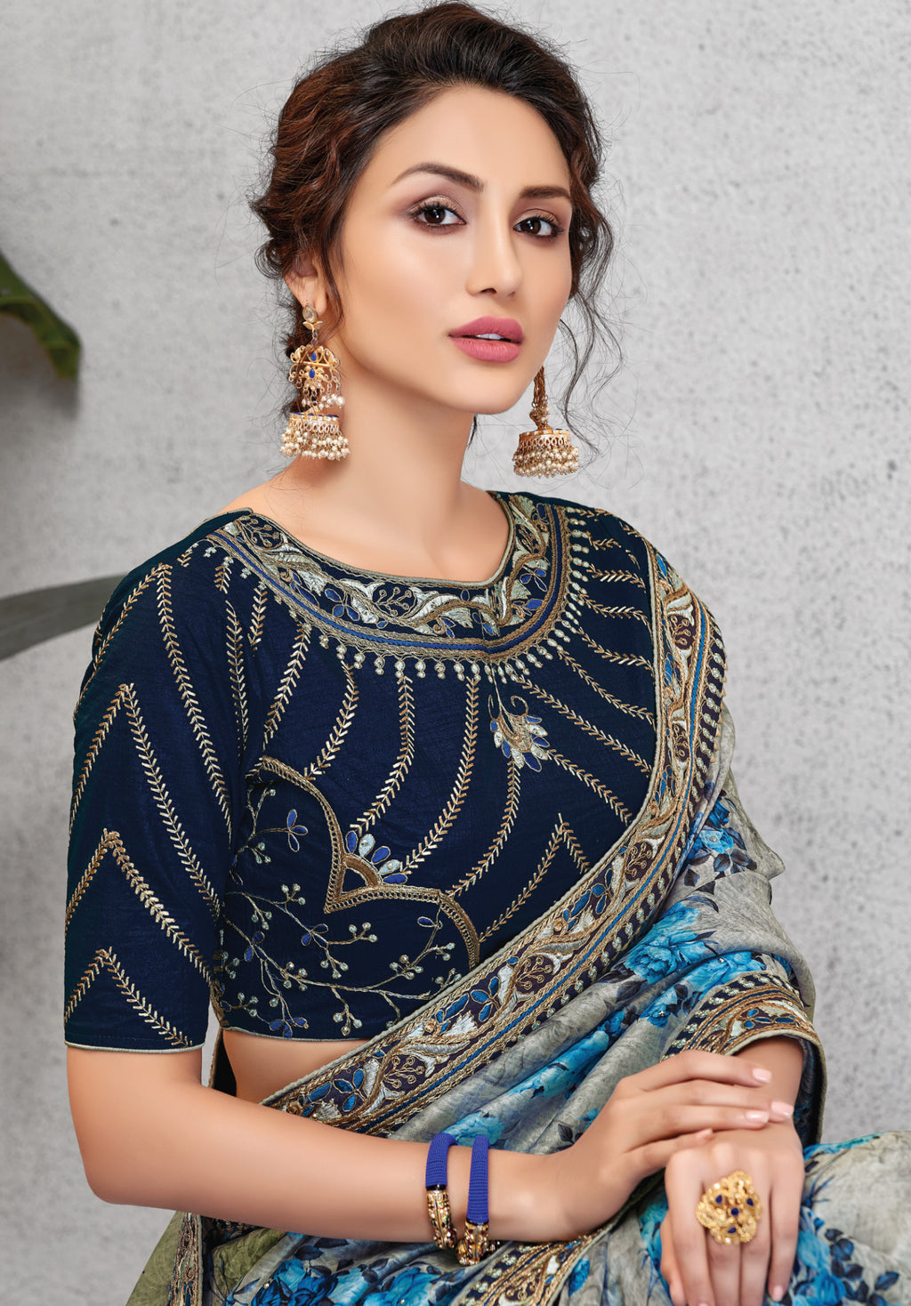 Grey & Blue Color Silk Lovely Occasion Wear Sarees NYF-6129