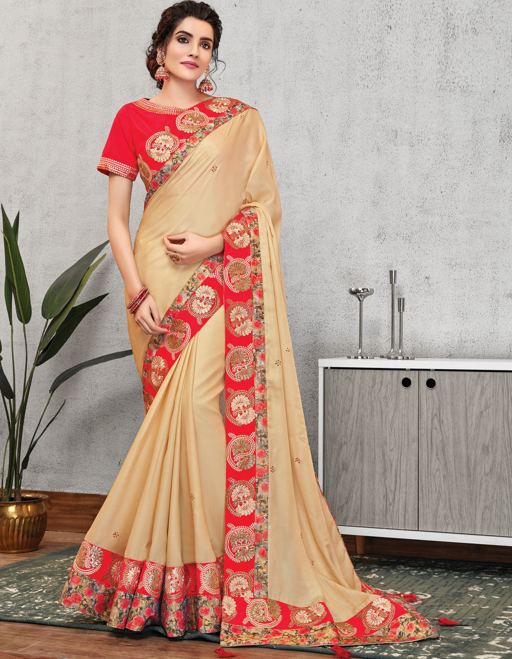 Cream Color Crepe Silk Lovely Occasion Wear Sarees NYF-6131