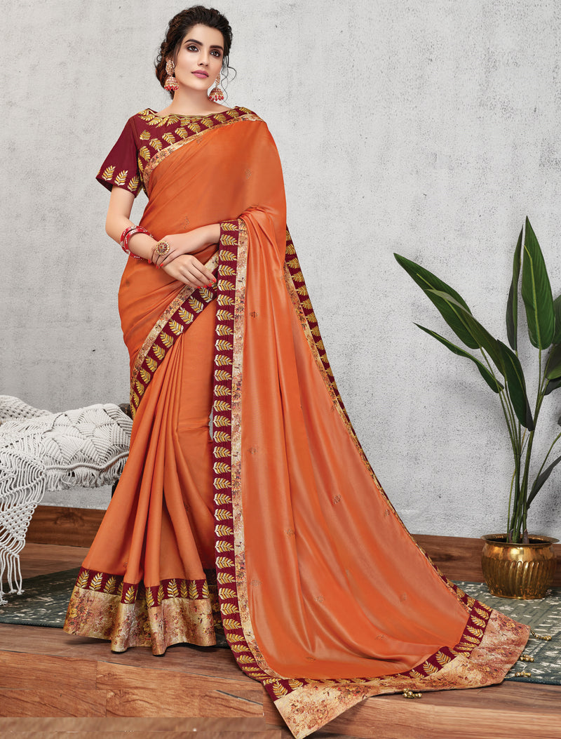 Coffee Color Crepe Silk Lovely Occasion Wear Sarees NYF-6132