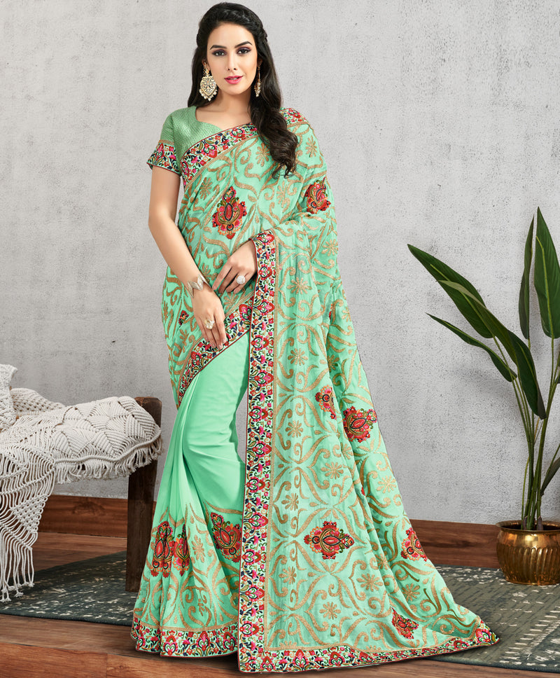 Sea Green Color Georgette Lovely Occasion Wear Sarees NYF-6133