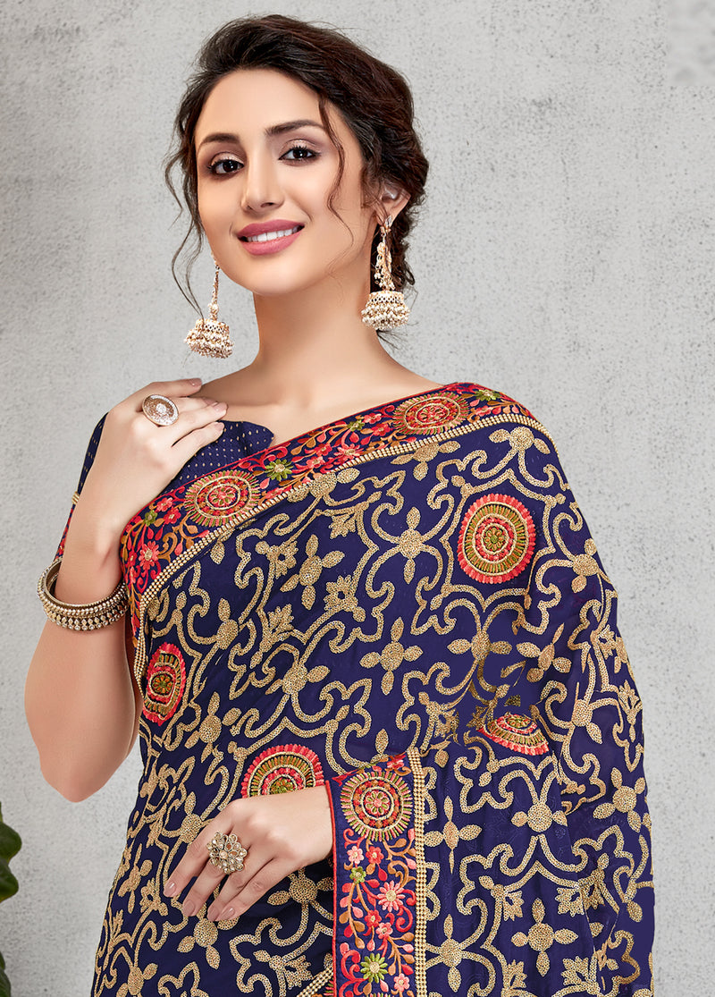 Blue Color Georgette Lovely Occasion Wear Sarees NYF-6134