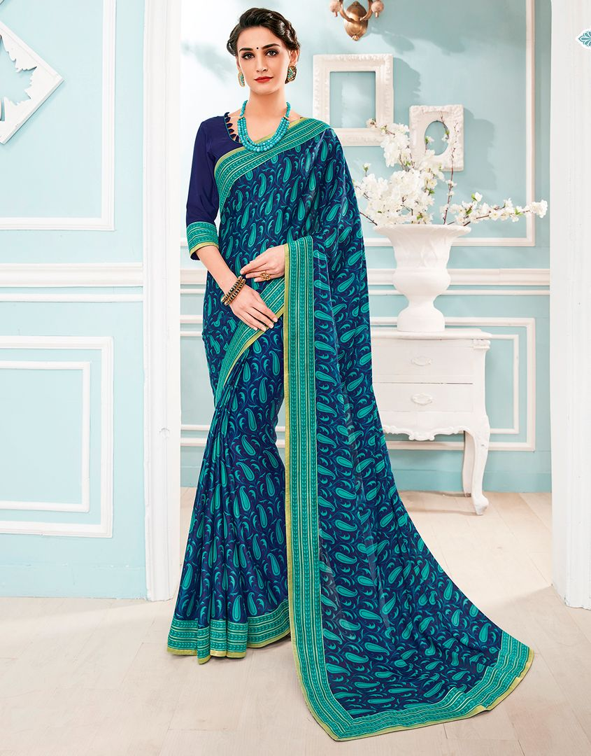 Blue Color Chiffon Party & Function Wear Sarees : Manohara Collection  NYF-2399 - YellowFashion.in